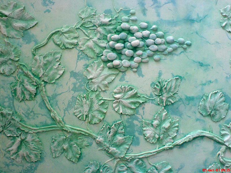 Декоративные узоры на стене из шпаклевки