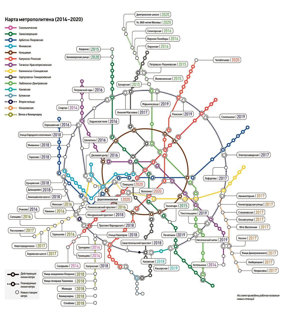 схема метро новые станции москва